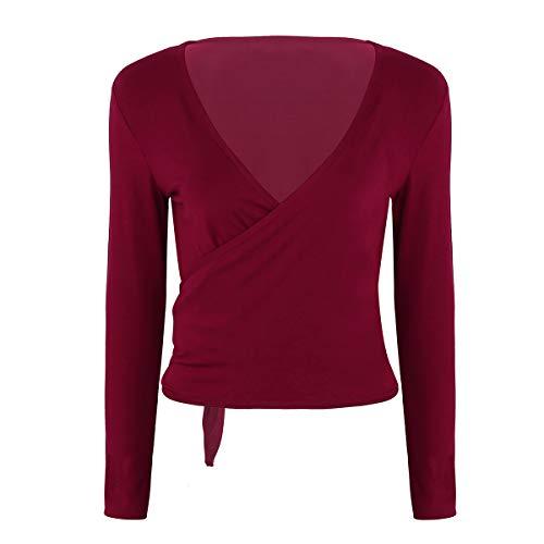 YiZYiF Damen Wickeljacke T-Shirts V Ausschnitt Blusen Wickel Tops Langarm Tunika Oberteil Schulterjacke Shrug Top Ballett Tanz Gymnastik Weinrot Medium