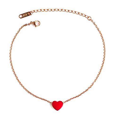 BoSa Fußkettchen Edelstahl vergoldet mit Roségold 27 cm lang Anhänger rotes Herz emailliert