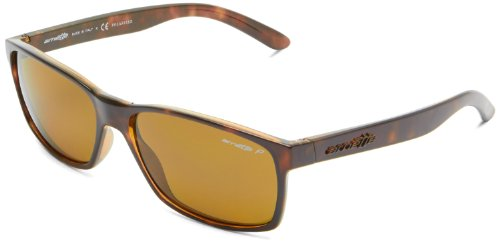 Arnette Slickster - Gafa de sol wayfarer color havana con lentes color marrón polarizadas, 59 mm