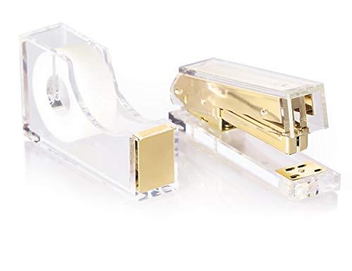 Staple & Stick Office Supplies Designer - Acrylic Lucite Gold Stapler & Tape Dispenser - Elegant Gold Tape Dispenser & Stapler Gift Set - Chic Office Stapler & Tape Dispenser Gold