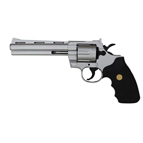 Softair Revolver Silber, Spielzeugrevolver 6mm Kaliber, Maßstab 1:1, Federdruckrevolver