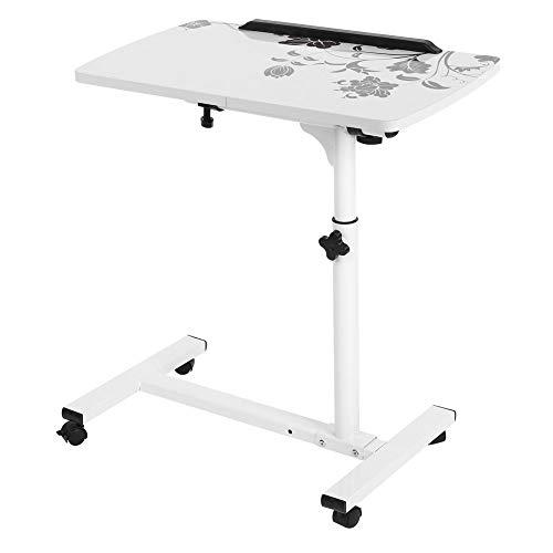 Dioche Escritorio móvil de pie para ordenador portátil, mesa de trabajo ajustable con ruedas para sala de estar, dormitorio, altura ajustable: 62-88cm (blanco)