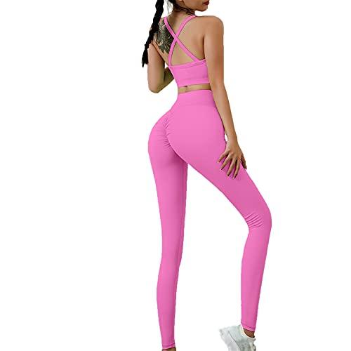 Juego de Top Leggings para Gym Yoga Pilates, Set de entrenamiento delantero de recorte de mujeres Conjunto de 2 piezas Cintura Alta Cintura Ruchada Rostro Levantamiento de yoga Leggings Sexy Spaghetti