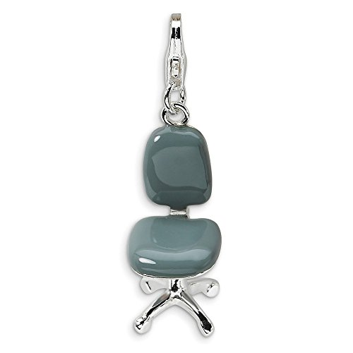Best Designer Jewelry Sterling Silver 3-D Enameled Office Chair w/Lobster Clasp Charm