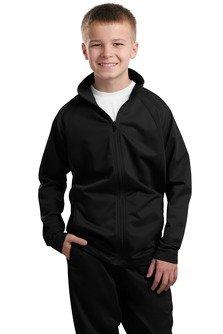 Sport-Tek Boys' Tricot Track Jacket S Black/Black