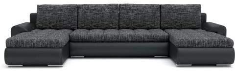 Moda Moda elegancia con función de sueño Sofá en forma de U y caja de almacenamiento 4 máquina de cojín grande, tejido de tejido y cuero artificial,I