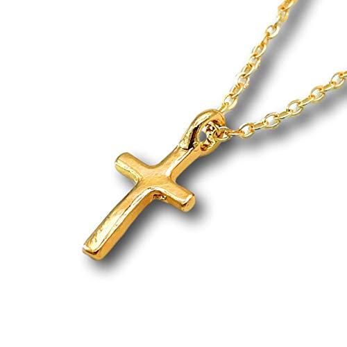 【HALL】「 クロス」HALLネックレス【Hawaiian jewelry】ハワイアンジュエリー クロス 十字架 シンプル 可愛い レディース メンズ (ゴールド)
