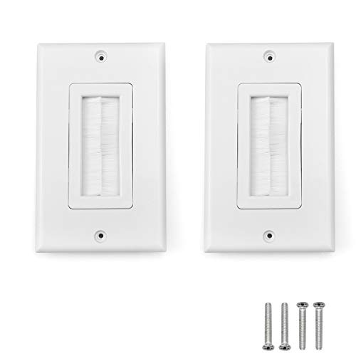 2 Pack Wall Plate Single Brush Wall Mounted Plate for Speaker Wires, Coaxial Cables, Network/Phone Cables (70x115mm) White