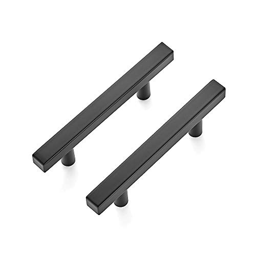 """Ravinte 30 Pack 5 inch Square Cabinet Pulls Matte Black Stainless Steel Kitchen Drawer Pulls Cabinet Handles 5""""Length, 3"""" Hole Center"""
