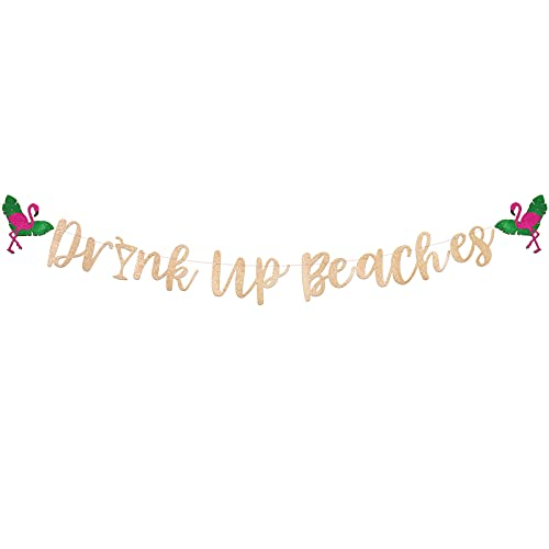 BETESSIN Drink Up Beaches Girlande Hawaii Tropical Party Banner Luau Cocktailparty Sommerparty Strandparty Deko