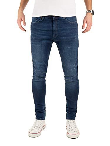 PITTMAN Herren Jeans M458 Look Slim fit - Blaue Skinny Männer Stretch Jeanshose Denim, Blau (Dress Blues 194024), W32/L32
