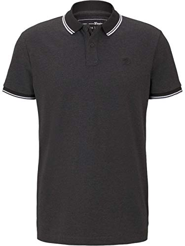 TOM TAILOR Denim Piquee Polo Polohemd Herren, Schwarz (10723 - Black Non-Solid), XXL