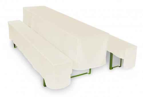 TexDeko Bierbankhussen Basic 3-teiliges Set (Farbe und Tischbreite nach Wahl) - Creme 50cm