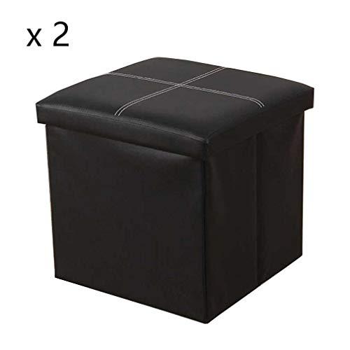 YCSD 40L Plegable Otomana De Cuero De Imitación Caja De Almacenamiento con Tapa Almacenamiento De Juguetes Cubo Taburetes De Reposapiés De 38 Cm,Paquete -2 (Color : Black)