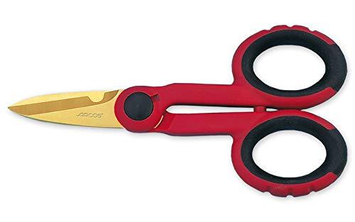 Arcos Serie Ecopro - Caja 6 uds Tijeras Electricista - Tijeras Electricista de Acero Inoxidable con Recubrimiento de Tungsteno de 145 mm de longitud - Tijeras Mango de Polipropileno Color Rojo (6 UDS)