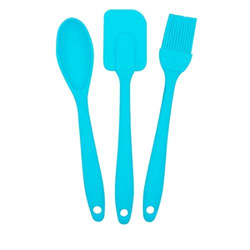 EUROXANTY® Set Utensilios de Cocina | 3 Piezas de Cocina | Polipropileno y Silicona | Libre de BPA | Resistencia al Calor | Cuchara, Pincel y espátula | Celeste