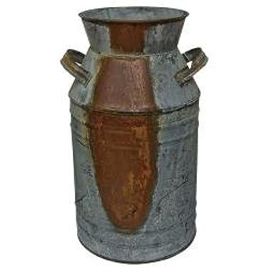 Milk Can - 7  Galvanized Finish - Country Rustic Primitive Jug Vase