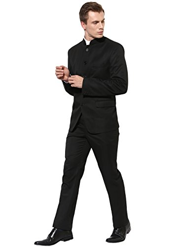 hangup Men's Long Sleeve Casual Blazer Regular fit 5Button_Black 44