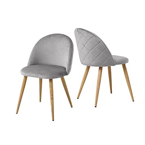 OFCASA Sedie sedie sala da pranzo Set da 2 in morbido velluto sedie schienale con gambe in metallo...
