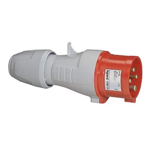 Clavija aérea con apriete manual de cierre de color rojo 380/415V 3P+T 16A (Legrand 555128)