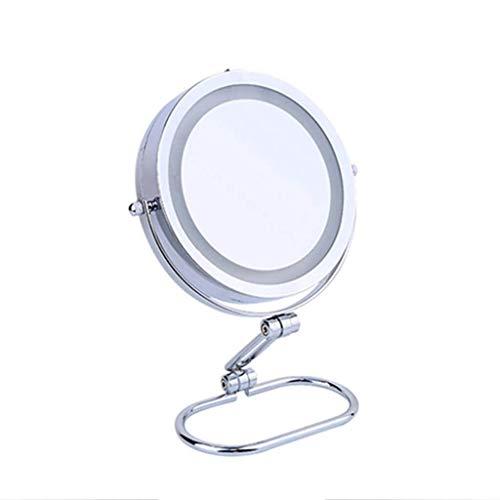 LULUDP Badspiegel Badezimmer-Eitelkeit Spiegel Make-up-Spiegel-LED-Beleuchtung 5-facher Vergrößerung - Beleuchtetes Badezimmer Aufsatz- Spiegel Rasierspiegel Rasierspiegel - Doppel Faced Spiegel: Noma