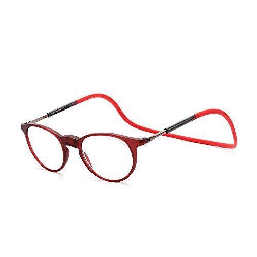 GEMSeven Magnetische Lesebrille Runder hängender Hals-Silikon-Klappbrillen Front Connect Presbyopic Brillen