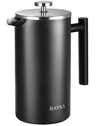 BAYKA French Press Coffee Maker, Stainless Steel 50oz Double-Wall Metal Insulated Coffee Tea Makers with 4 Level Filtration System, Rust-Free, Dishwasher Safe,Black