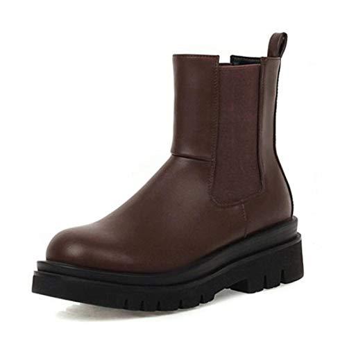 N-B Botas cortas para mujer, modernas, impermeables, de piel sintética de poliuretano, tacón grueso, zapatos de invierno para mujer, cálidas, elásticas, informales, tallas 34-42
