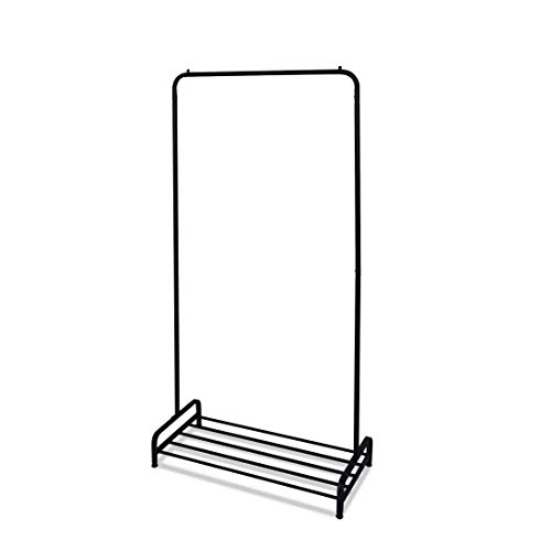 Levivo Kleiderständer / Garderobenständer, offen, Kleiderstange mit Schuhablage unten, Wäscheständer, Kleiderständer aus hochwertigem Metall, 85 x 40 x 165 cm, Farbe schwarz