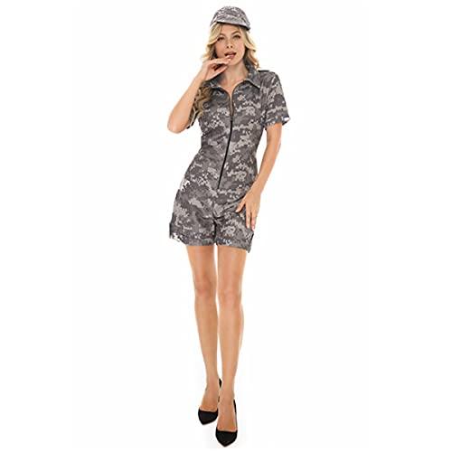 HIZQ Disfraz De Cosplay para Adultos Halloween Camuflaje Gris Base Militar Mujer Polica Cremallera Uniforme Una Pieza Vestir Club Ropa Fiesta Adecuado El Baile Disfraces En Escenario,Gris,L