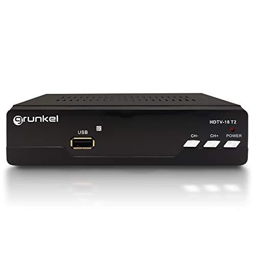 Grunkel - HDTV-18 T2 - Sintonizzatore TDT T2 USB riproduttore e registratore in diretta e diffusa a basso consumo Telecomando Marca Spagna - Facile installazione - Nero