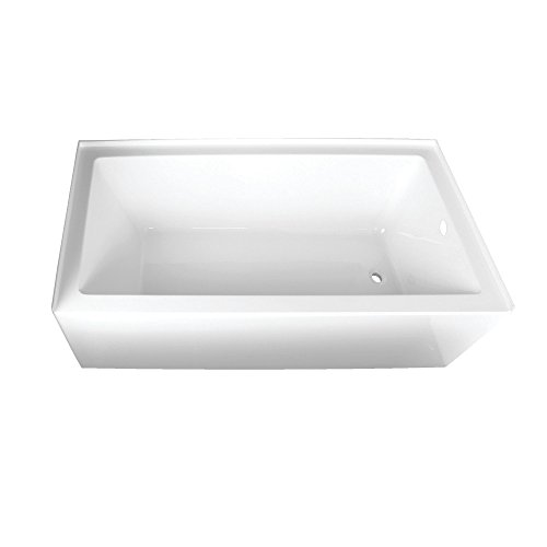 Product Image of the Kingston Brass VTAP663222R Aqua Eden 66-Inch Acrylic Alcove Tub with Right Hand Drain Hole, (L) x 32' (W) x 20-1/2' (D), White