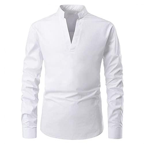 Camiseta de manga larga para hombre, cómoda camisa, cuello en V, color sólido, slim, de manga larga, camisas, parte superior, Blanco, L