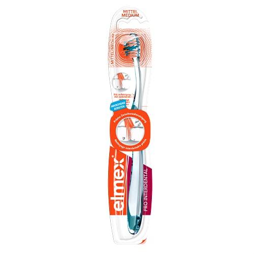 elmex Zahnbürste Pro Interdental, mittel, 1 Stück - Handzahnbürste zur präzisen Zahnzwischenraumreinigung, mikrofeine Borsten