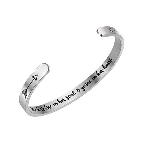 ivyAnan Inspirational Bracelets for Best Friends Engraved she has fire in her Soul Grace in her Heart Inspirational Jewelry Gift 2019