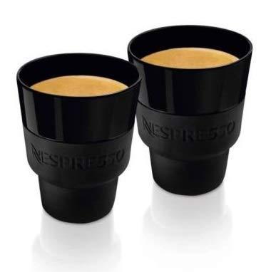 Nespresso TouchLungo Becher (170 ml) aus schwarzem Porzellan und weichem Silikon, in Markenschachtel, von Berlin Designstudio Geckeler Michels, 2 Stück