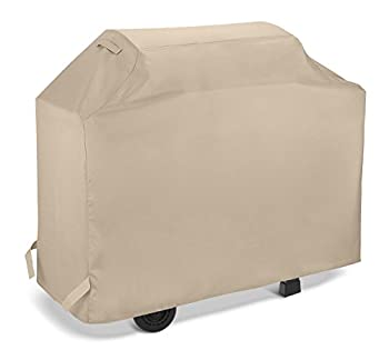 SunPatio Grill Cover 50 Inch Outdoor Heavy Duty Waterproof Barbecue Gas Grill Cover Propane Smoker Cover All Weather Protection for Weber Charbroil Nexgrill Dyna-Glo Grills and More Beige