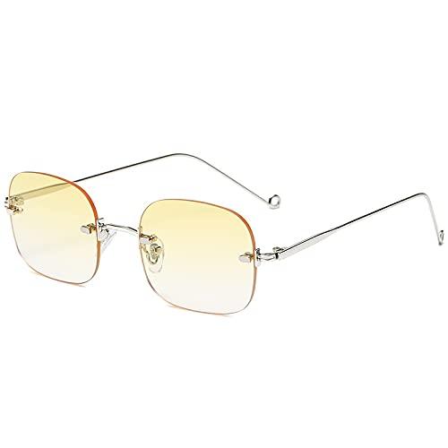 AMFG Gafas de sol sin montura de moda, hombres clásicos y mujeres de moda de la calle. (Color : E)