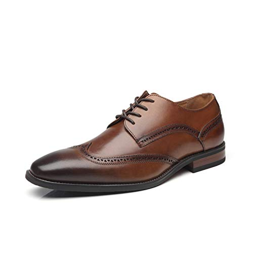 La Milano Mens Dressshoes Leather Oxford Wingtip Lace Up Business Casual Comfortable Dressshoes for Men, 13 M US,13 M US,Brogue-1-whisky