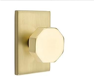 Emtek Privacy Set, Modern Rectangle Rosette, Octagon Knob (Satin Brass)