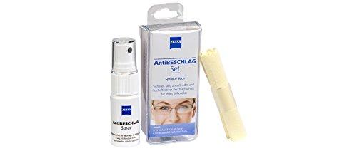 Zeiss AntiBESCHLAG Set (Spray 15ml + Tuch), effektiver Schutz vor beschlagenden, Brillen- Antibeschlag Set
