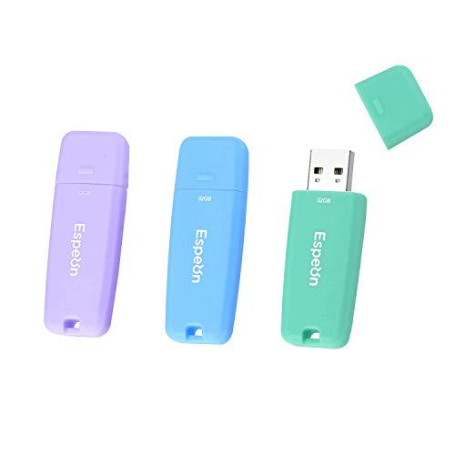 Espeon 3 Stück, 32 GB, USB 2.0, USB-Stick, Gummischalenschutz, Farbe: Macaroon - Hellblau, Hellviolett, Hellgrün