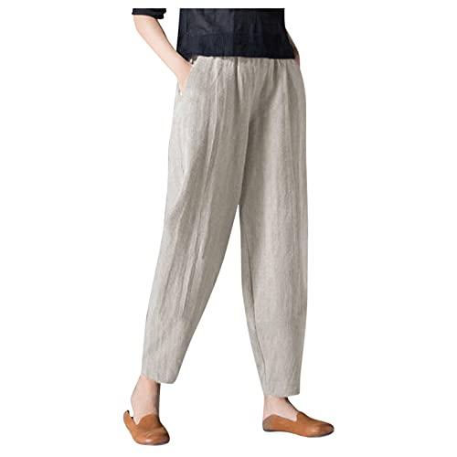 Pistaz Pantalones harén para mujer, de algodón de alta calidad, ligeros, transpirables, sueltos, rectos, sueltos, beige, 36W regular