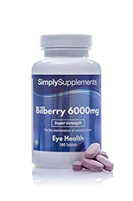 Bilberry Extract Tablets | Potent 6000mg Formulation | 180 Tablets = Up to 3 Month Supply | Vegan & Vegetarian Friendly | Added Vitamin B2 to Support Healthy Sight & Vision | Manufactured in The UK
