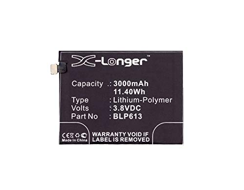 Synergy Digital Battery Compatible with Oneplus BLP613 Cellphone Battery - (Li-Pol, 3.8V, 3000 mAh / 11.40Wh)
