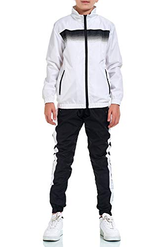 XRebel Kinder Junge Jogginganzug Sportanzug Modell W30 (Weiß, 152-158(16))