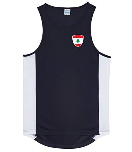 Nation Libanon Athletic Sport Gym ATH BR-SC - Camiseta sin mangas, Primavera-verano, Inserciones laterales en colores de contraste., Cuello redondo, Hombre, color Negro , tamaño XL