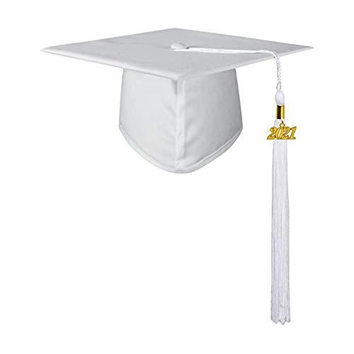 Benoon Gorra De Graduación Unisex Adornos De Graduación Para Adultos 2021 Poliéster Sombrero De Borla De Escuela Secundaria Y Universidad Para Regalos De Graduación De Soltero blanco