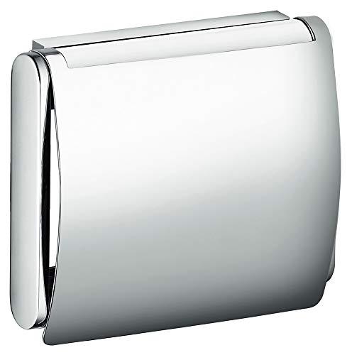 KEUCO Toilettenpapierhalter aus Metall, hochglanz-verchromt, mit Deckel, WC-Rollenhalter für Badezimmer und Gäste-WC, Plan