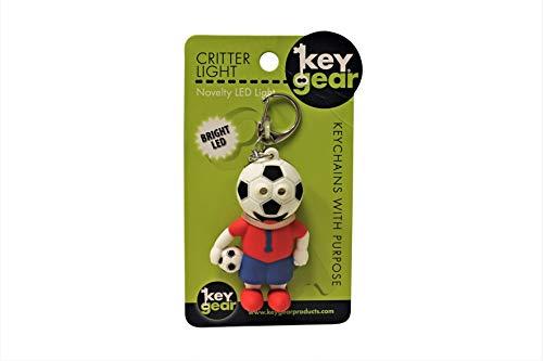 KeyGear Soccer Champ Sport Keychain Ring Carabiner with Mini LED Flash Light Clip Sport Ball Keychains